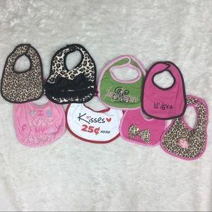 Bundle of baby girl bibs